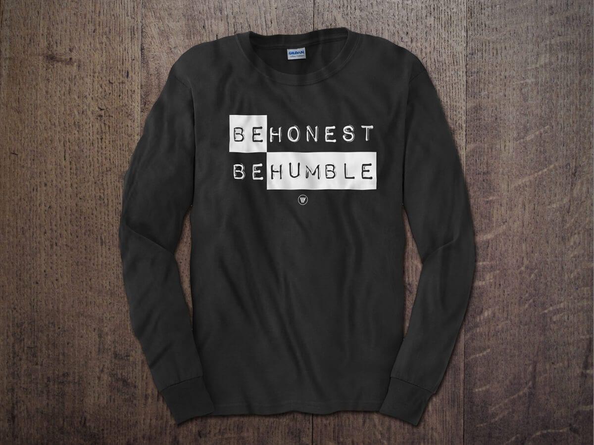 BE HONEST BE HUMBLE LONG SLEEVE T-SHIRT CHARCOAL