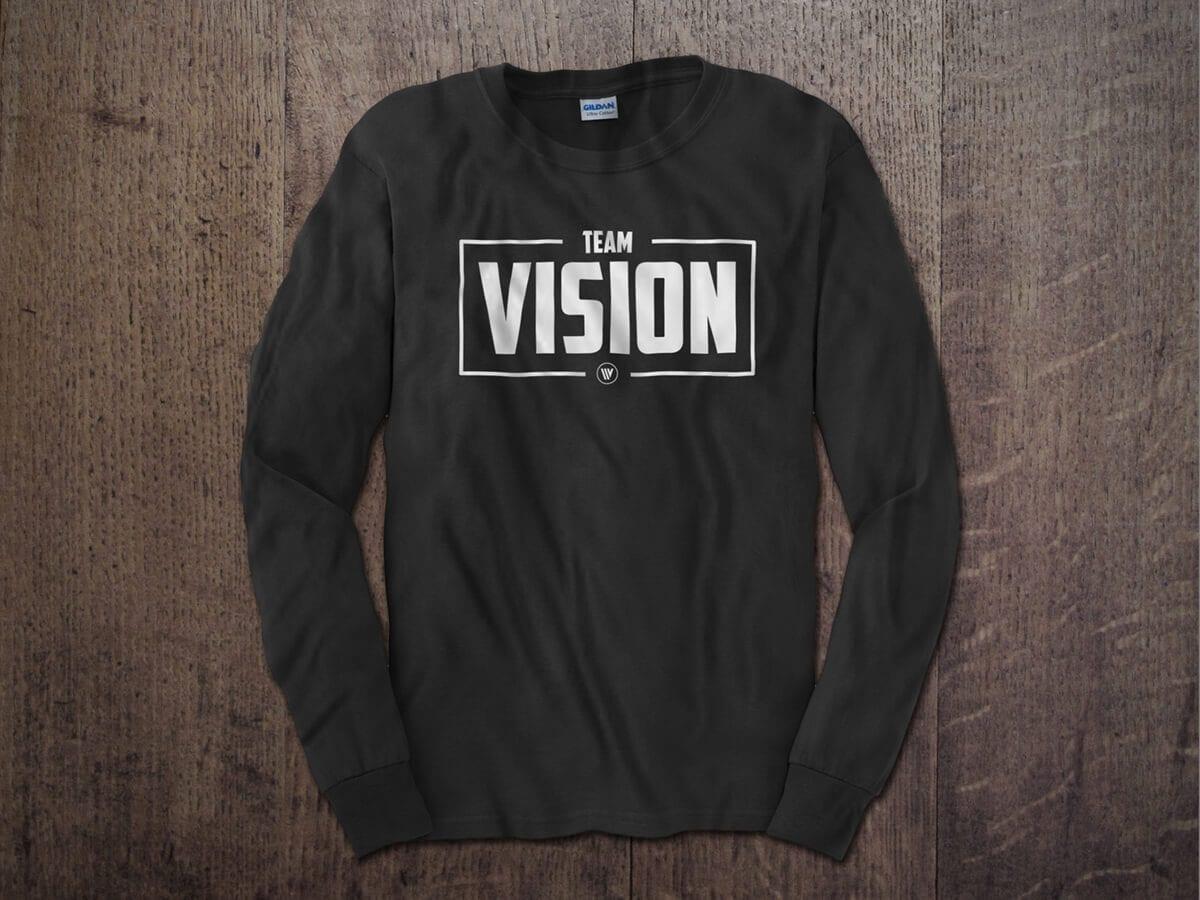 TEAM VISION BOX LONG SLEEVE T-SHIRT CHARCOAL
