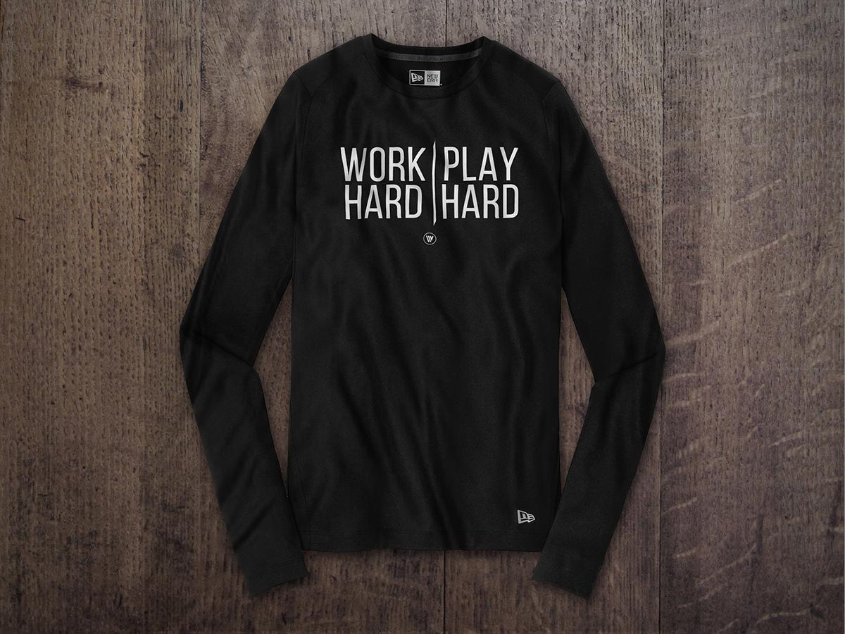 WORK HARD PLAY HARD NEW ERA LONG SLEEVE TEE Black
